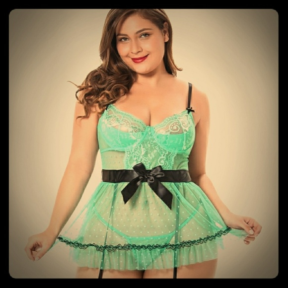 Teal plus size sheer frill Babydoll 4x nwot